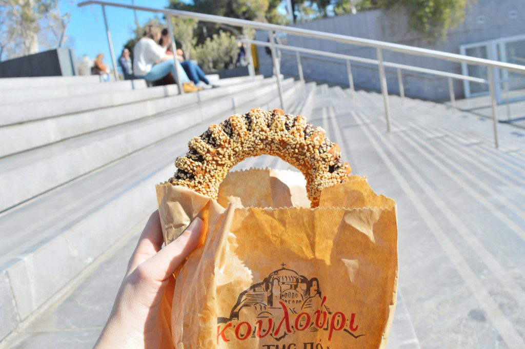 This donut-shaped koulouri is a typical street snack in Athens