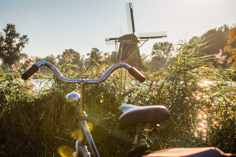 A bicycle parked next to the Amstel river, with the Riekermolen (Rieker Mill) in the background.