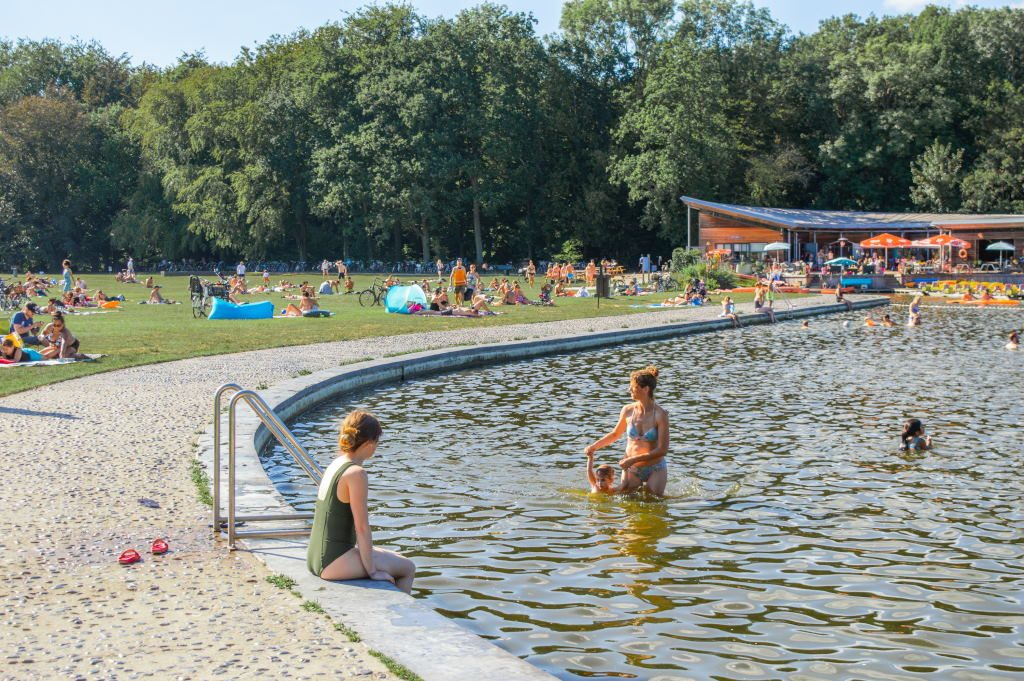 People swimming in the Grote Vijver in the Amsterdamse Bos
