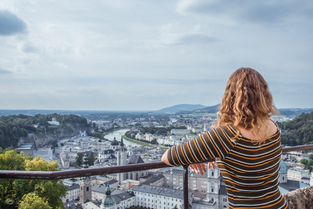 Roselinde in Salzburg city, overlooking the city from the hilltip castle