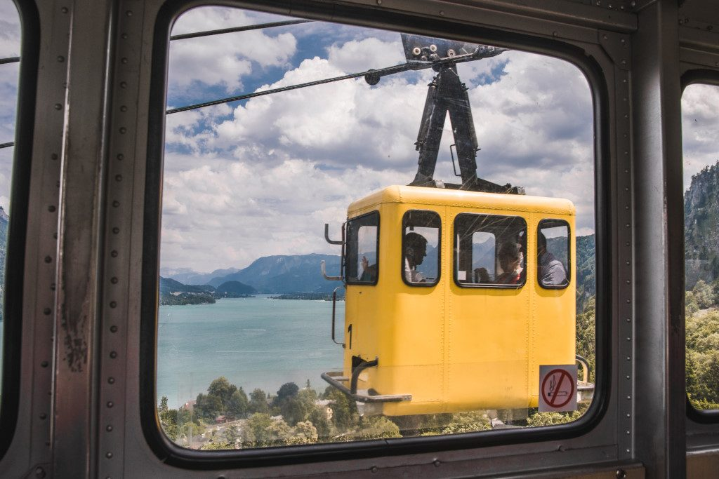 One of the best day trips from Salzburg is taking the cable car up to Zwölferhorn mountain