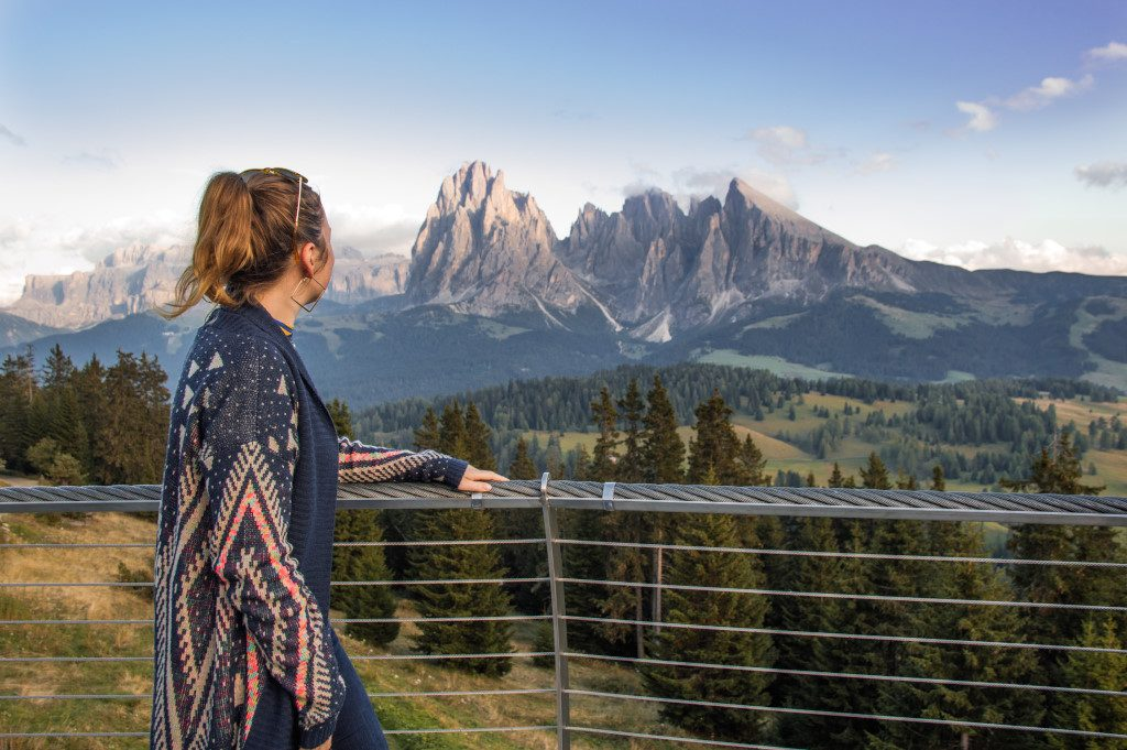 Overlooking the Dolomites during sunset in Val Gardena, Italy