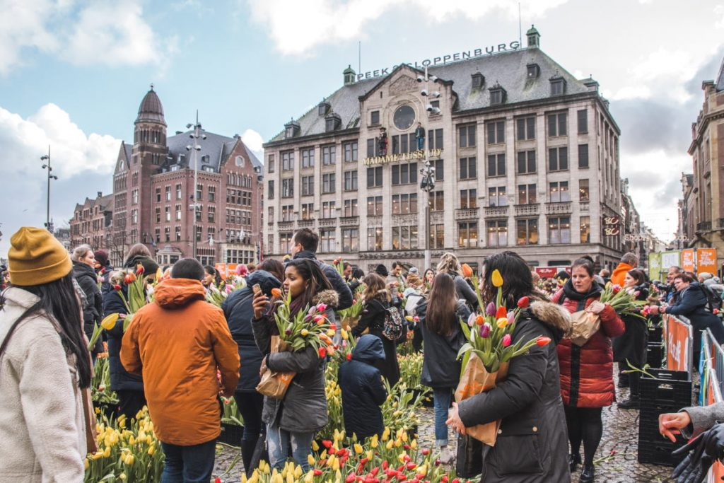 Dam Square on National Tulip Day in Amsterdam