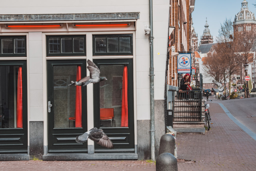 The Red Light District in Amsterdam, abandoned windows and streets during the coronavirus lockdown