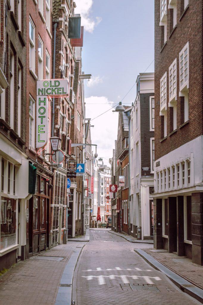 A quiet, empty street in Amsterdam during the Coronavirus crisis