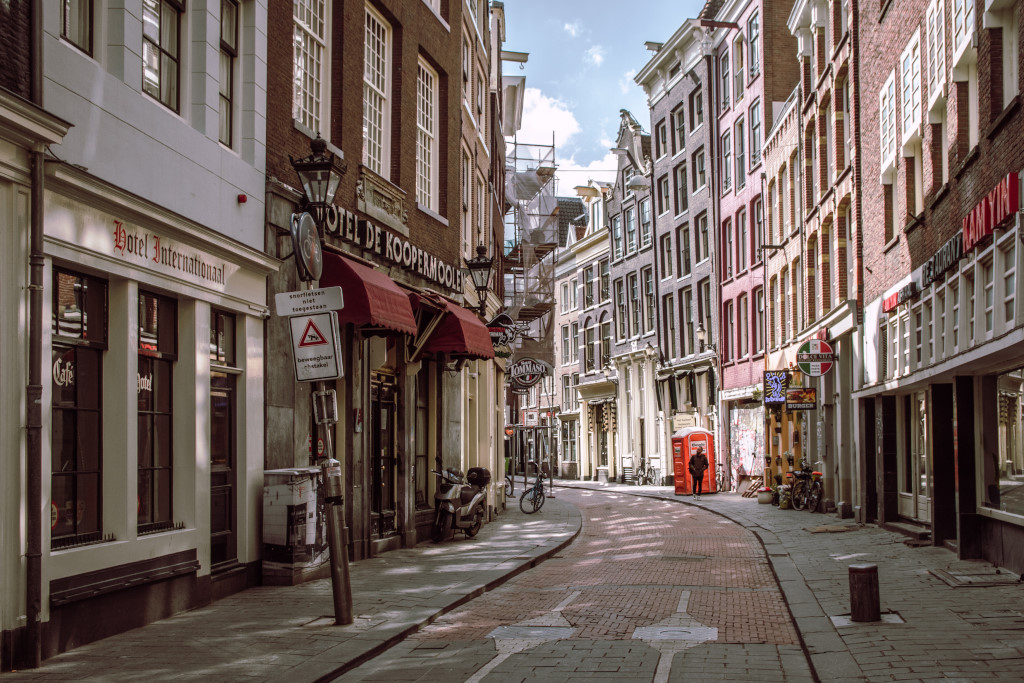Empty street in the historic centre of Amsterdam during the coronavirus outbreak