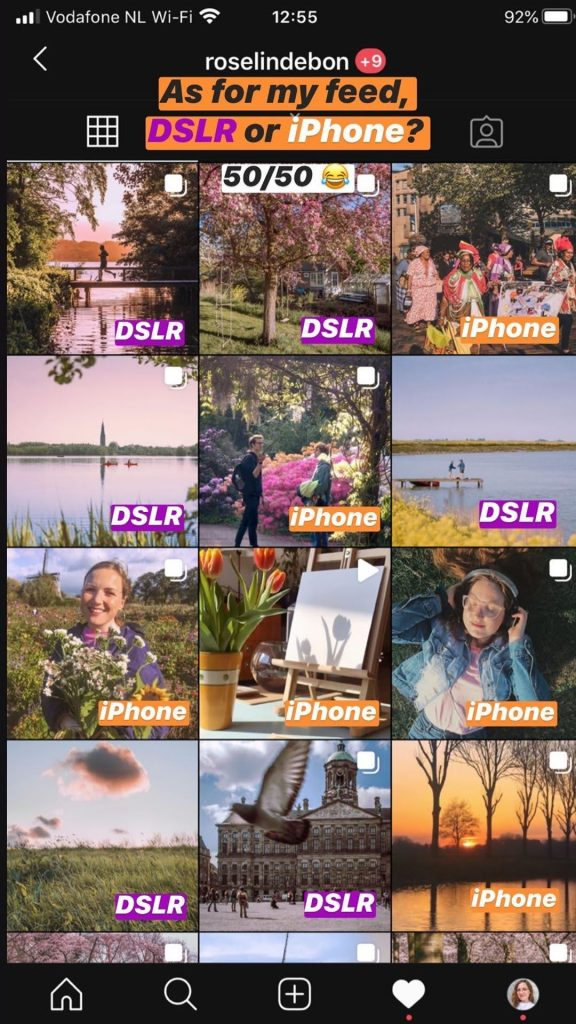Overview of my feed, with 50% of photos of DSLR and the otehr half iPhone shots