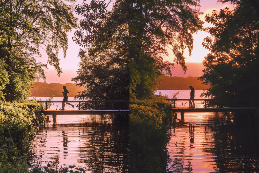 Two images of a silhouette crossing a lakeside bridge during sunset
