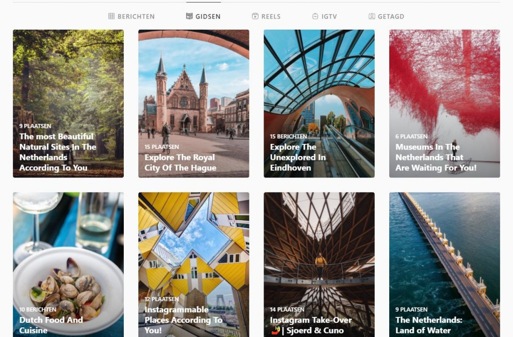 An overview of Guides about travel in the Netherlands on an Instagram page in 2020